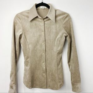Babaton micro suede button down blouse